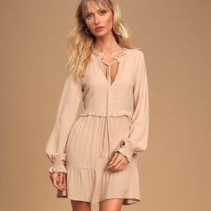 Lulu's Long Sleeve Ruffled Babydoll Dress, XL